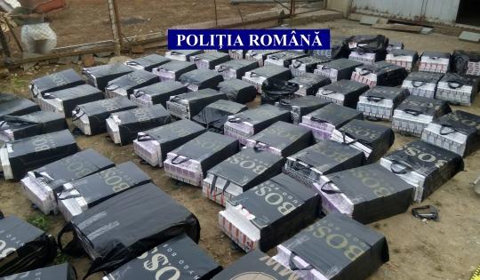 Depozit clandestin cu ţigări de contrabandă, descoperit în Seini