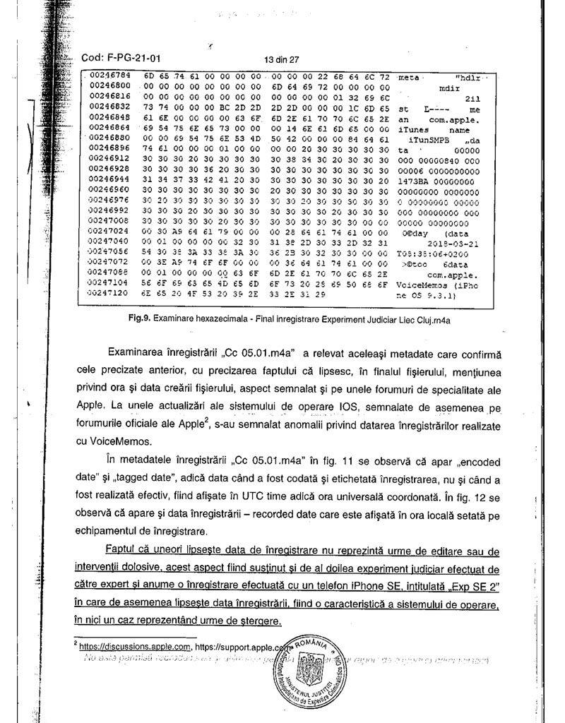 """Procesul penal """"CHERECHEȘ"""". Concluzia expertizei criminalistice INEC-LIEC Cluj: """"aceste înregistrări nu au suferit intervenții tehnice (...) de natură să le modifice conținutul și sensul."""""""